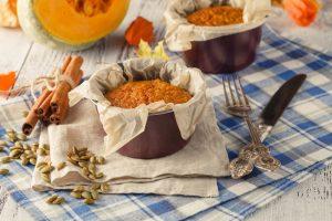 Sweet pumpkin souffle , selective focus